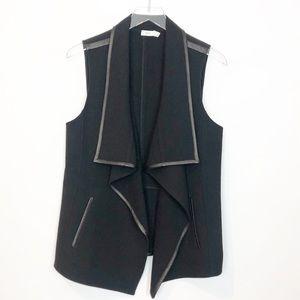 Vince Leather Trim Wool Vest Black M